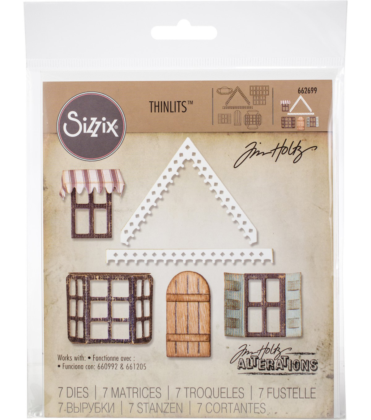 Sizzix Tim Holtz Thinlits 7 pk Dies-Village Fixer Upper
