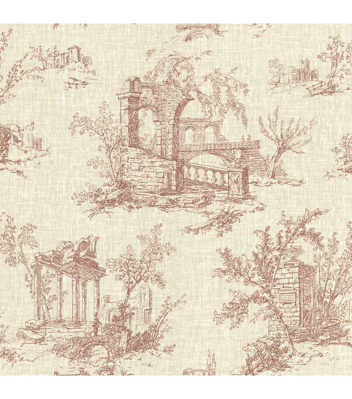Antiquity Brick Linen Toile Wallpaper Sample