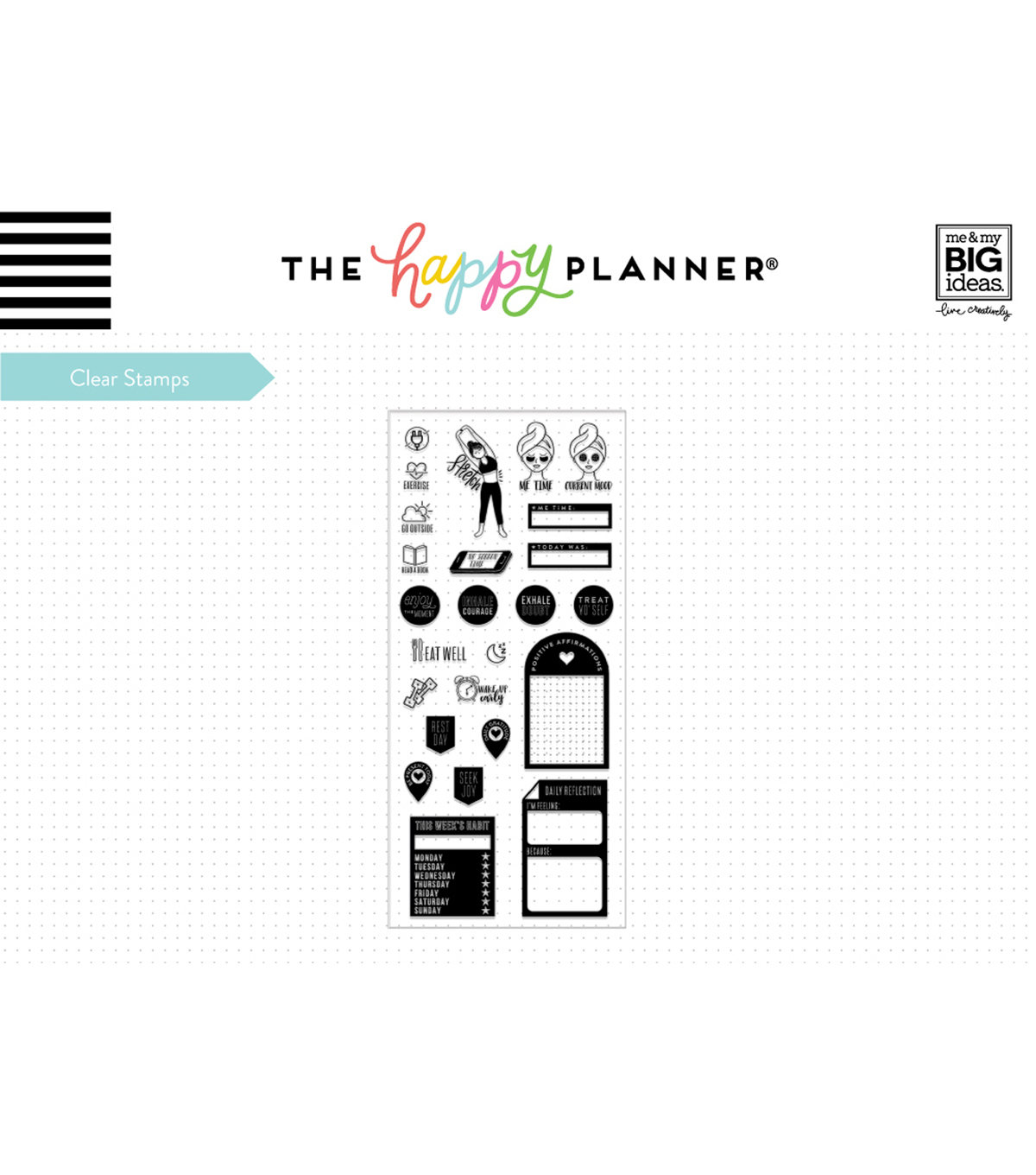 The Happy Planner 21 pk Clear Stamps-Fitness Wellness