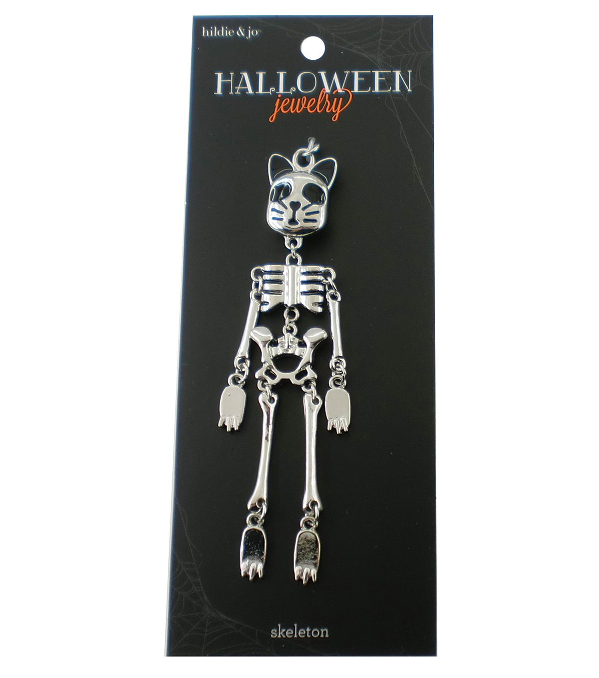 hildie & jo Halloween Cat Face Skeleton Doll Silver Pendant