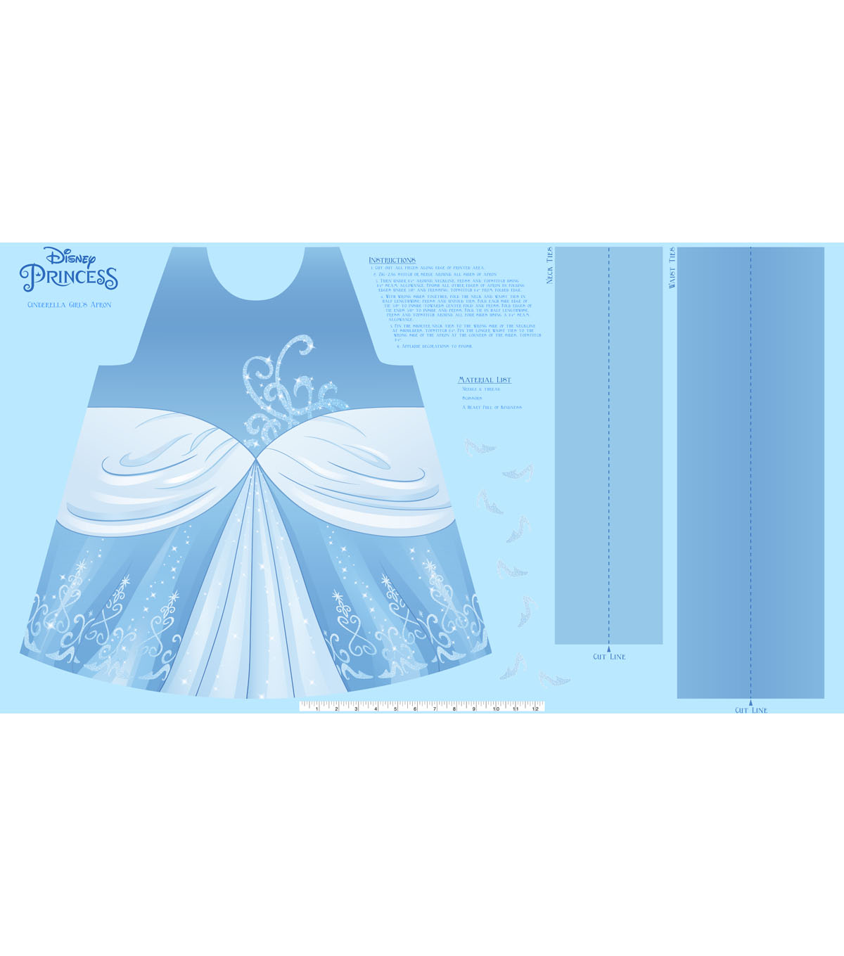 Disney Princess Cinderella Cotton Girl\u0027s Apron Panel Fabric