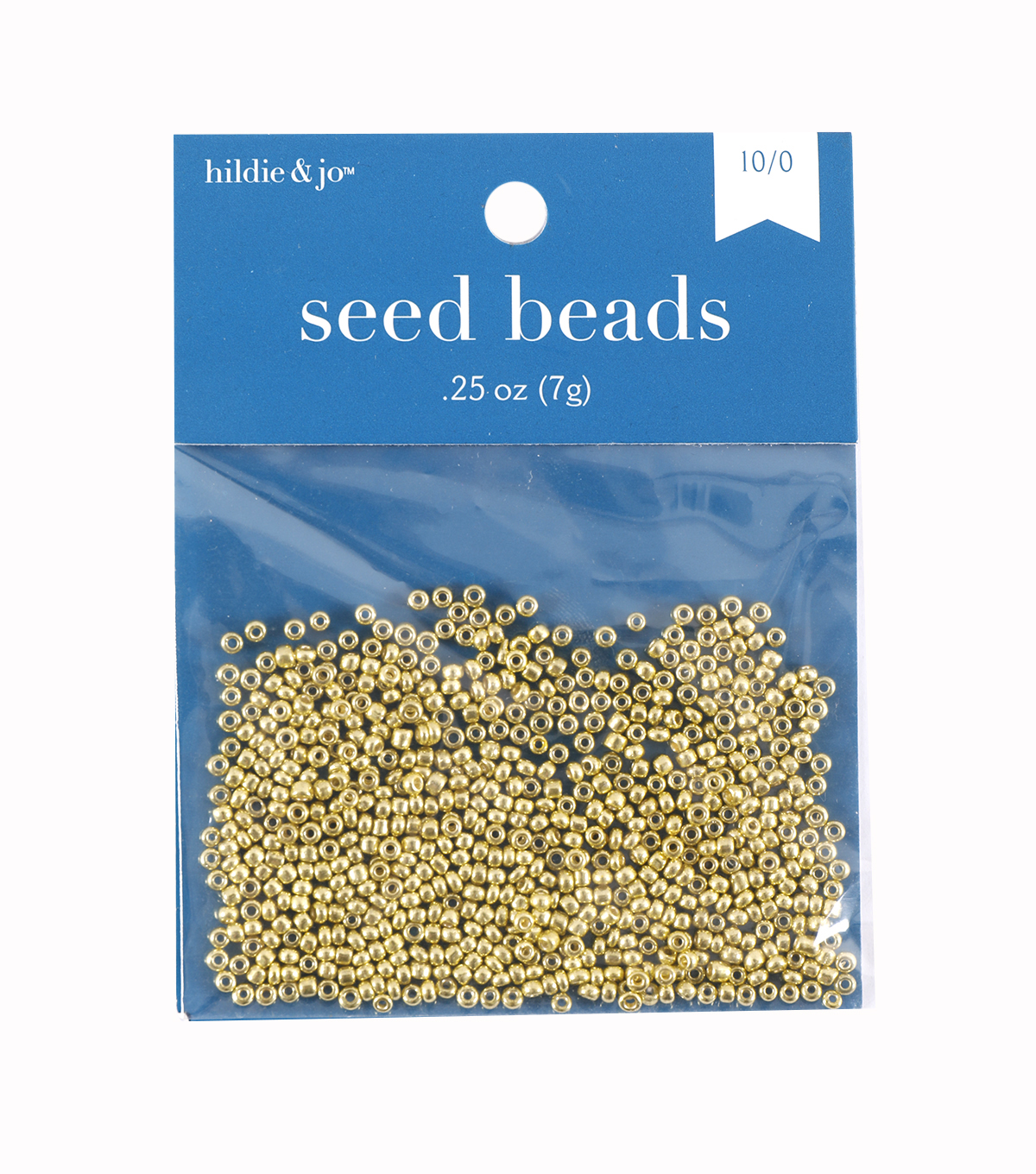 Glass Seed Beads-Metallic Gold Transparent, 10/0, 7 grams