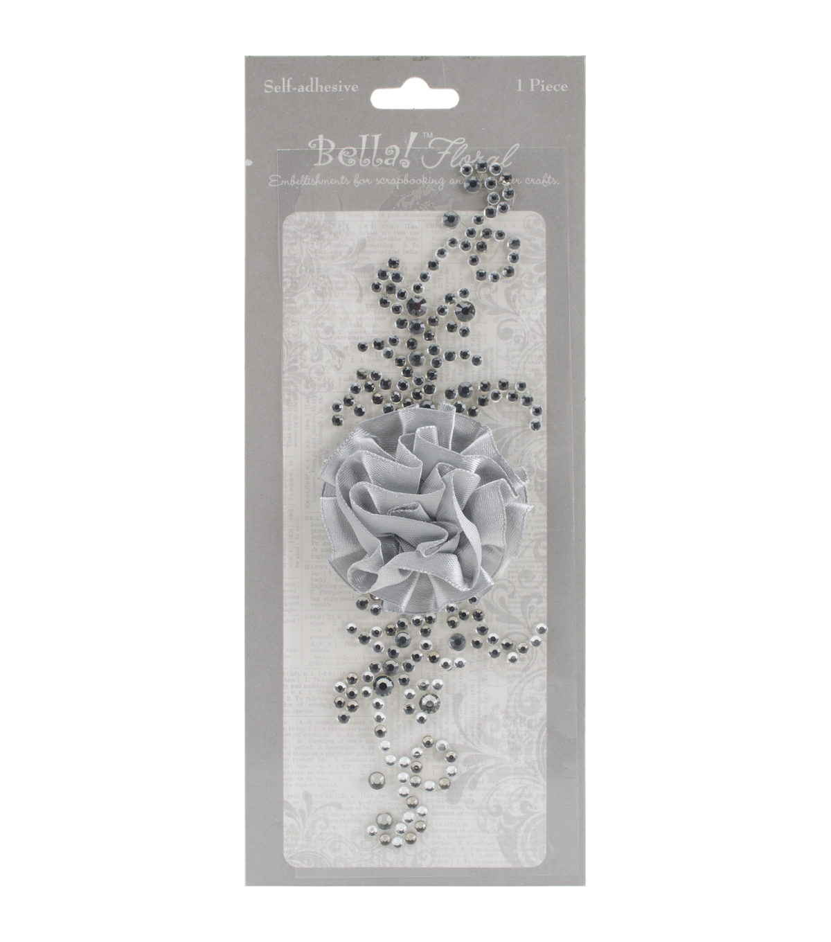 Ruby Rock It Bella! Bling & Fabric Floral Trim Embellishments, Silver