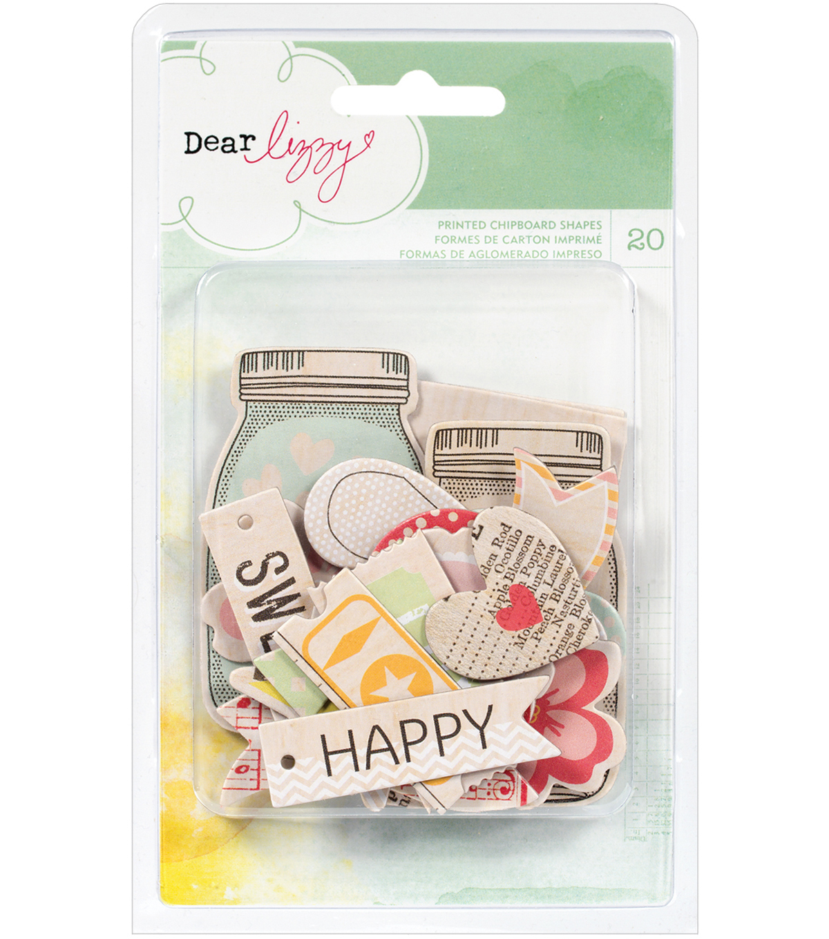 Dear Lizzy Neapolitan Chipboard Shapes 20/Pkg-