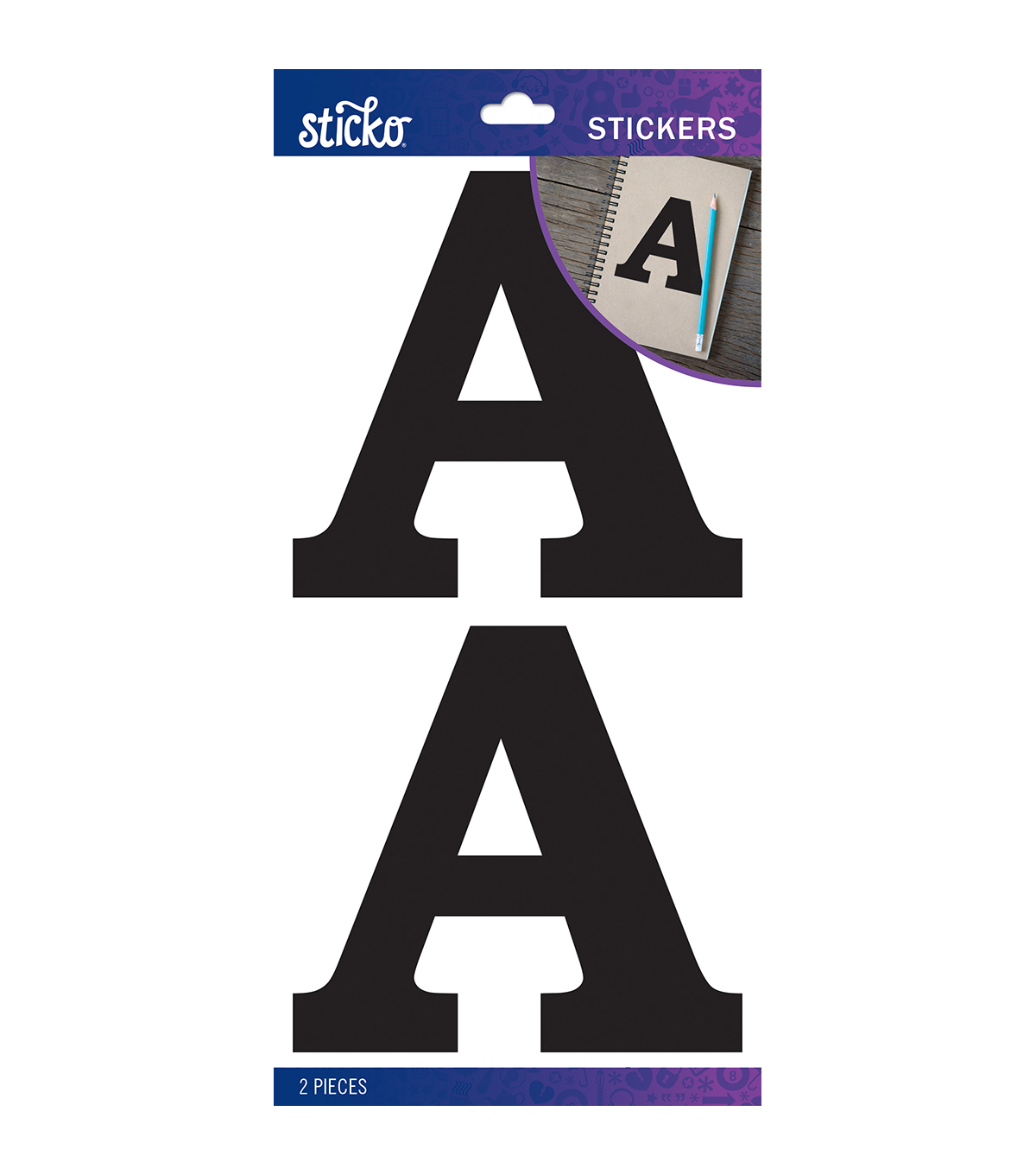 Sticko 2 pk Basic Monogram Stickers-Black