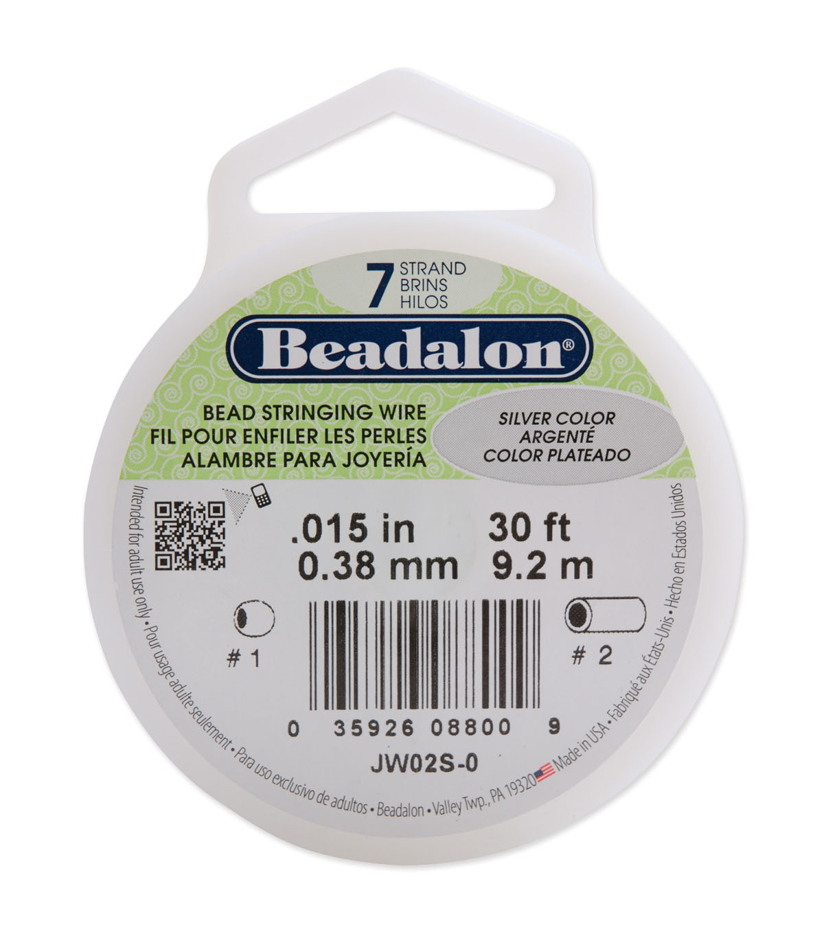 Beadalon Stringing Wire 7-Strand .015\u0022(.38mm)dia. 30ftPK-MANY COLORS