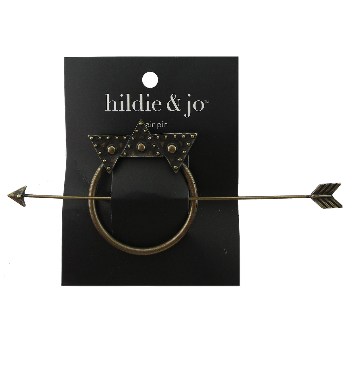 hildie & jo Open Circle Gold Hair Pin with Arrow