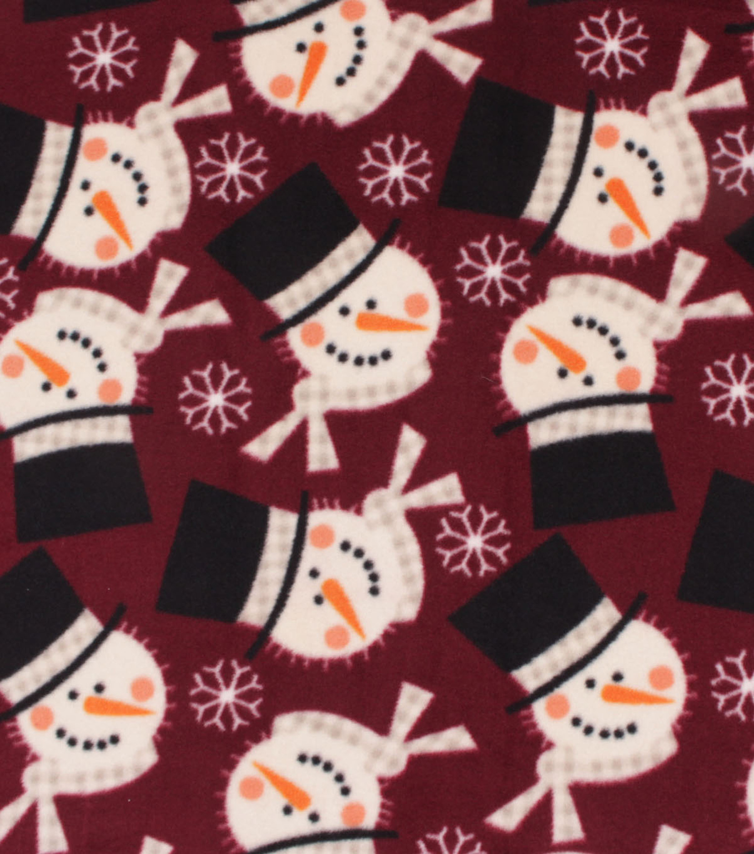 Anti-Pill Plush Fleece Fabric-Red Snowman Holiday