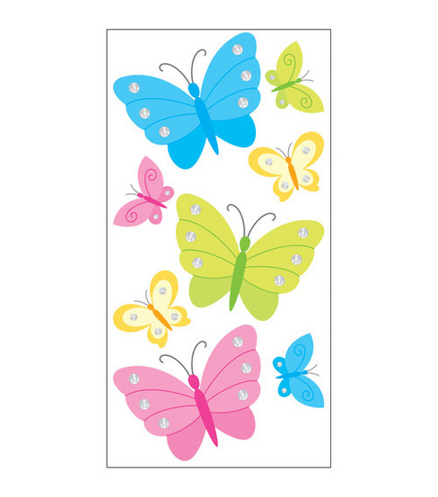 Sandylion Dimensional Stickers-Butterfly & Rhinestones