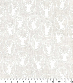 Quilter\u0027s Showcase Cotton Fabric -Deer Head White
