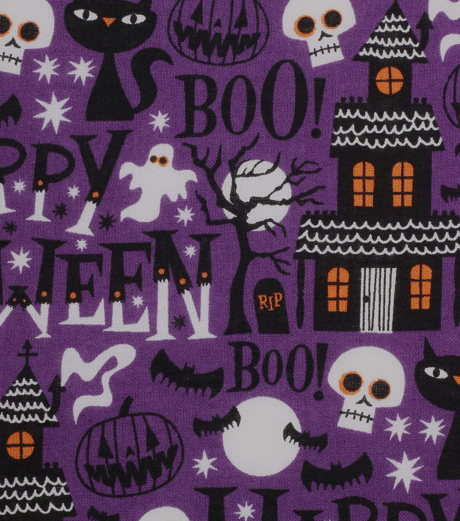 Halloween Cotton Fabric 43\u0022-Haunted House