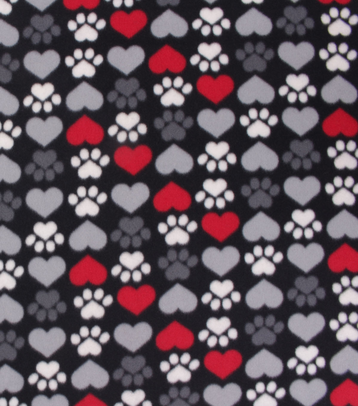Blizzard Fleece Fabric-Paw Prints And Hearts Red Black