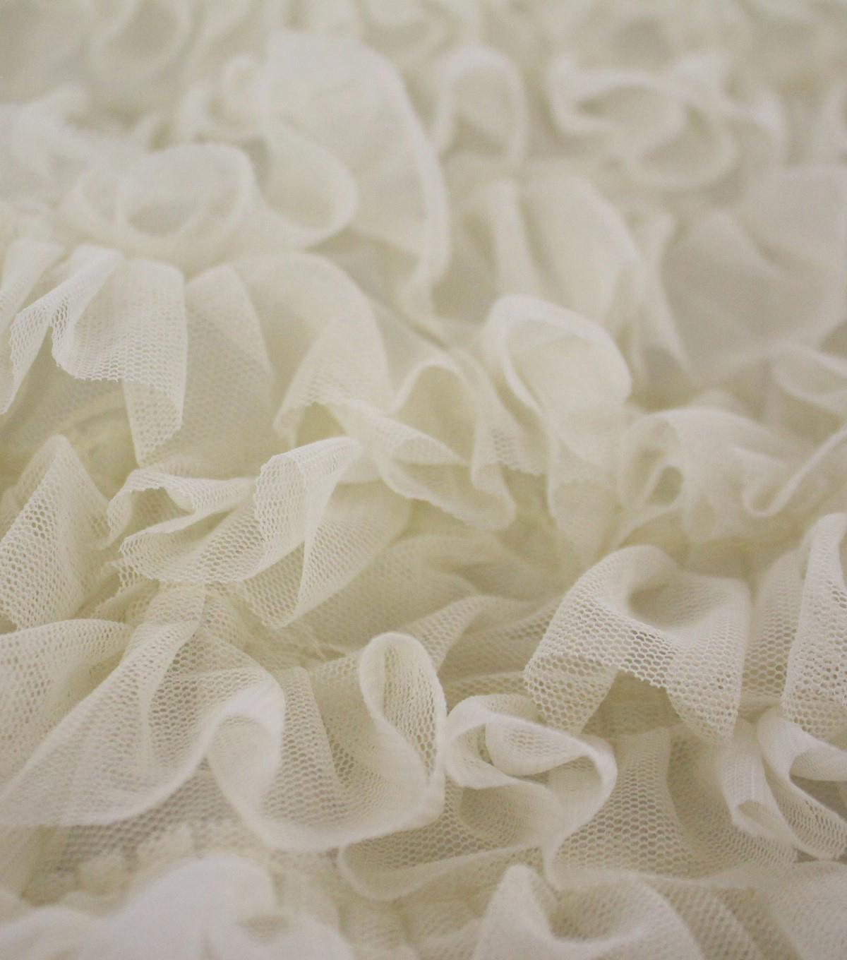 Sew Sweet Mesh Fabric With Ruffles 49\u0022-Ivory