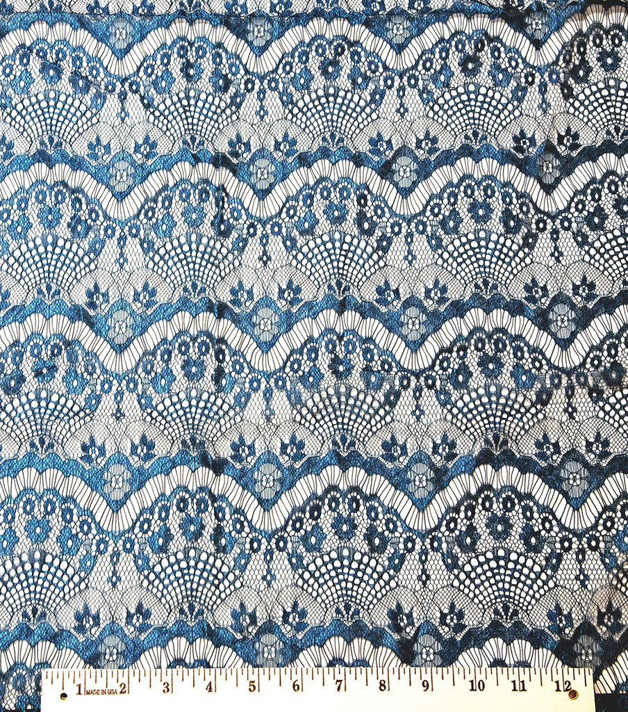 Casa Collection Eyelash Lace Fabric 56\u0022, Ocean Depths