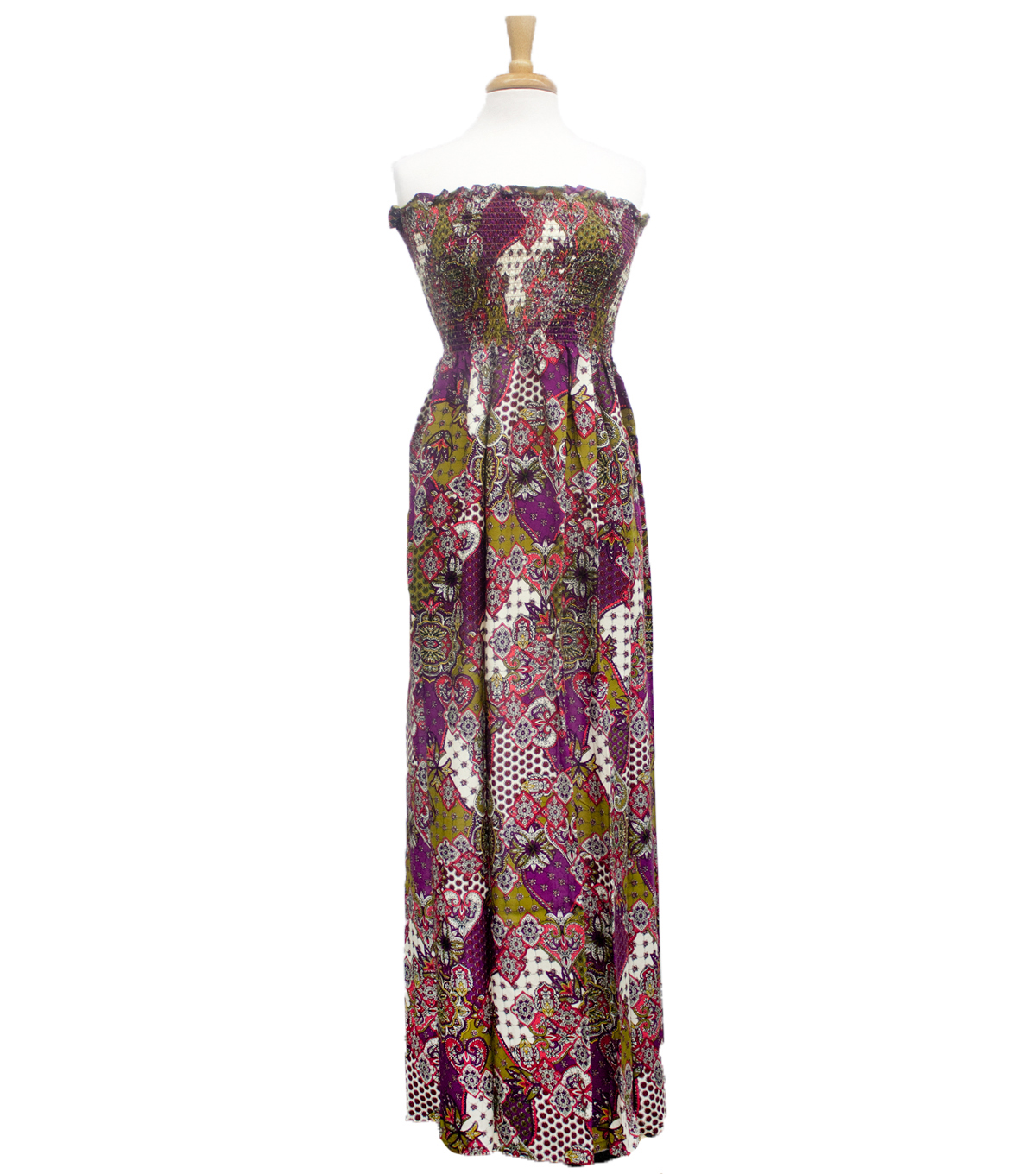 Style In An Instant 53\u0022 Shirred Dress Patchwork Purple