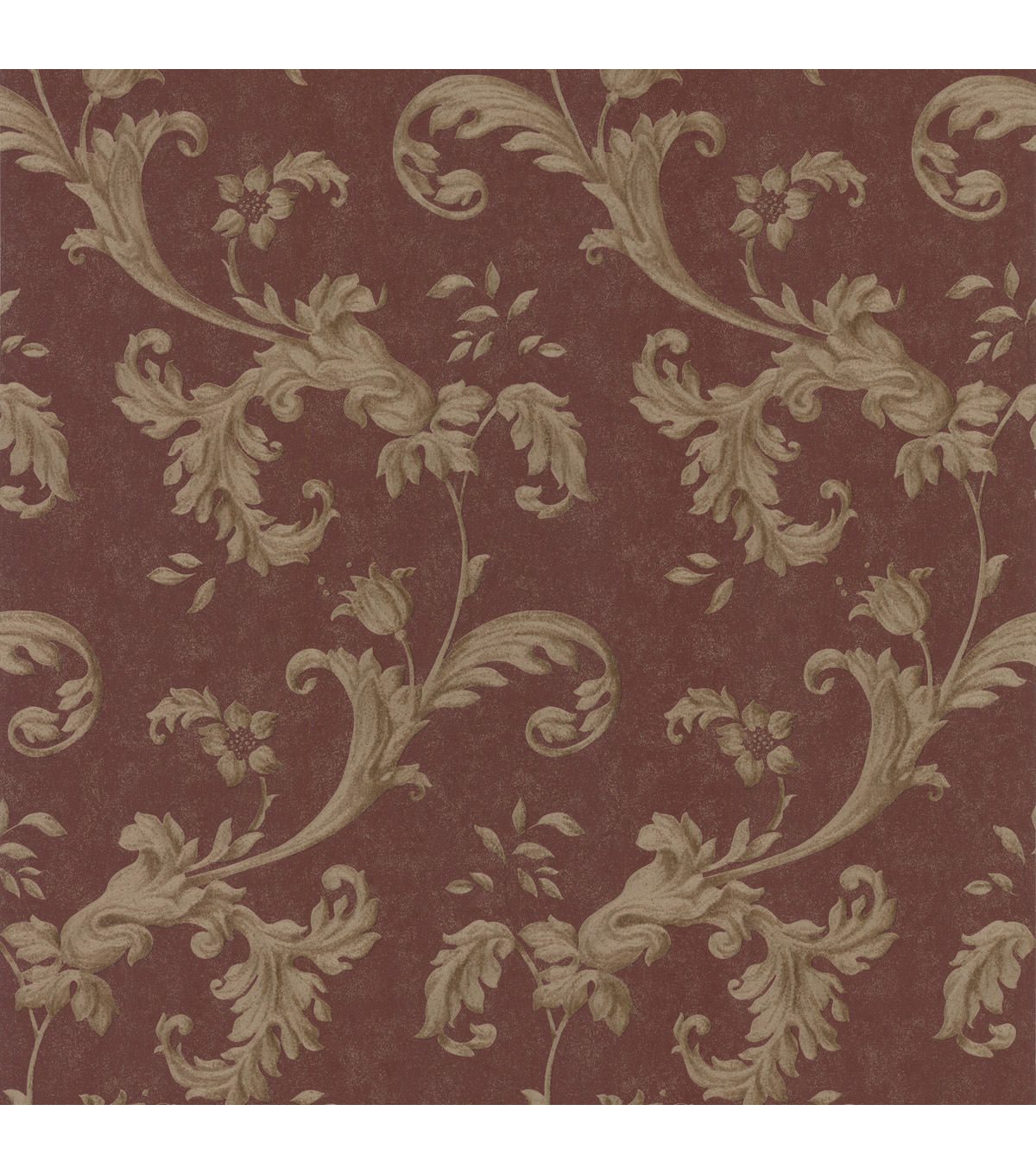 Isleworth Burgundy Floral Scroll Wallpaper