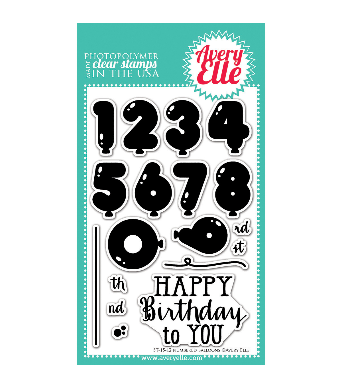 Avery Elle Numbered Balloons Clear Stamp Set 4\u0027\u0027x6\u0027\u0027