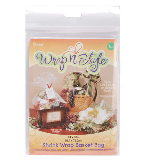 Darice 24\u0022x30\u0022 Shrink Wrap Basket Bag-1PK/Clear