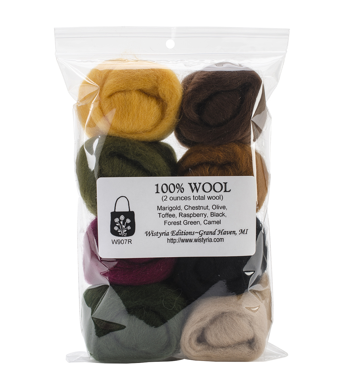 Wistyria Editions The Bouquet Wool Roving Yarn, Falling Leaves