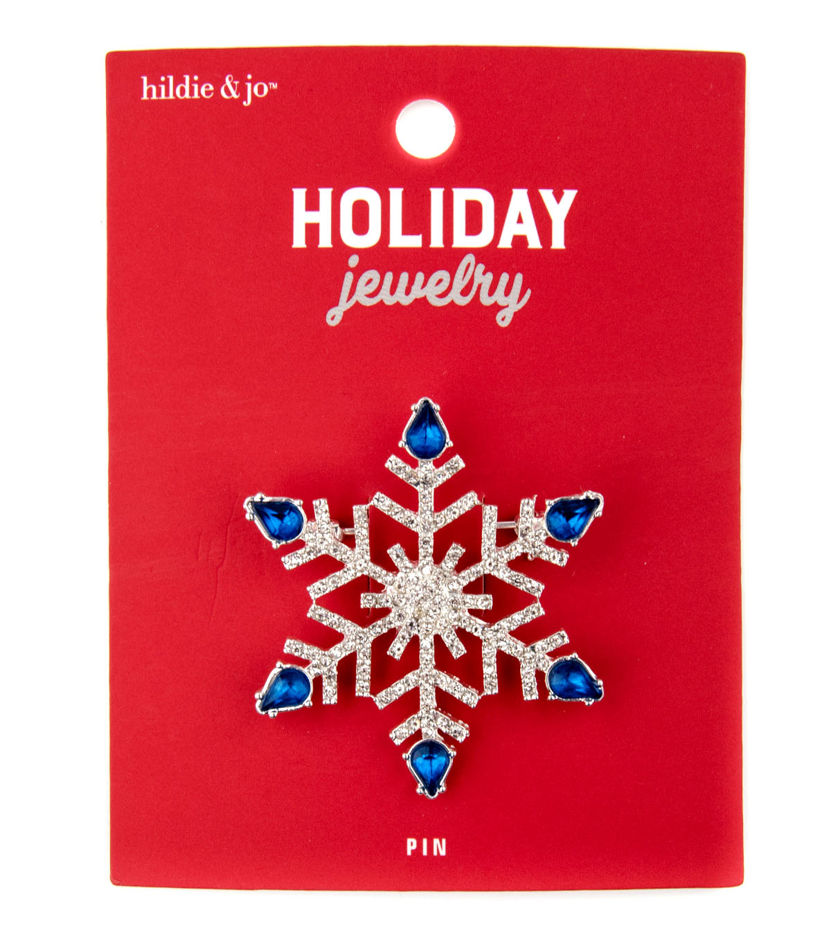 hildie & jo Christmas Holiday Jewelry Star Pin-Blue & Silver Rhinestones