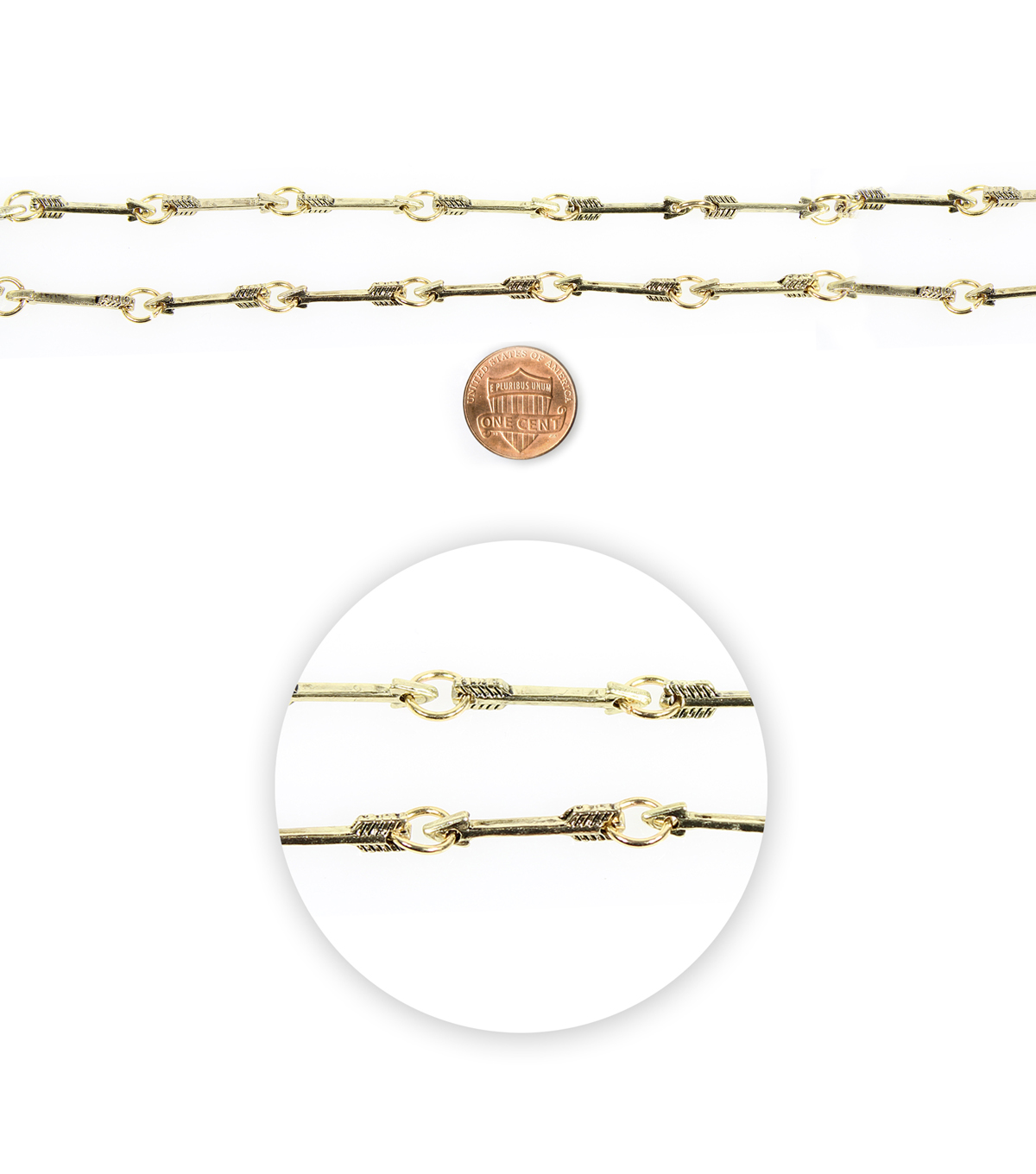 Blue Moon Beads 14\u0022 Strand Metal Connector Arrows Antique Gold