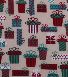 Holiday Showcase Christmas Cotton Fabric 43\u0027\u0027-Packed Presents on Beige