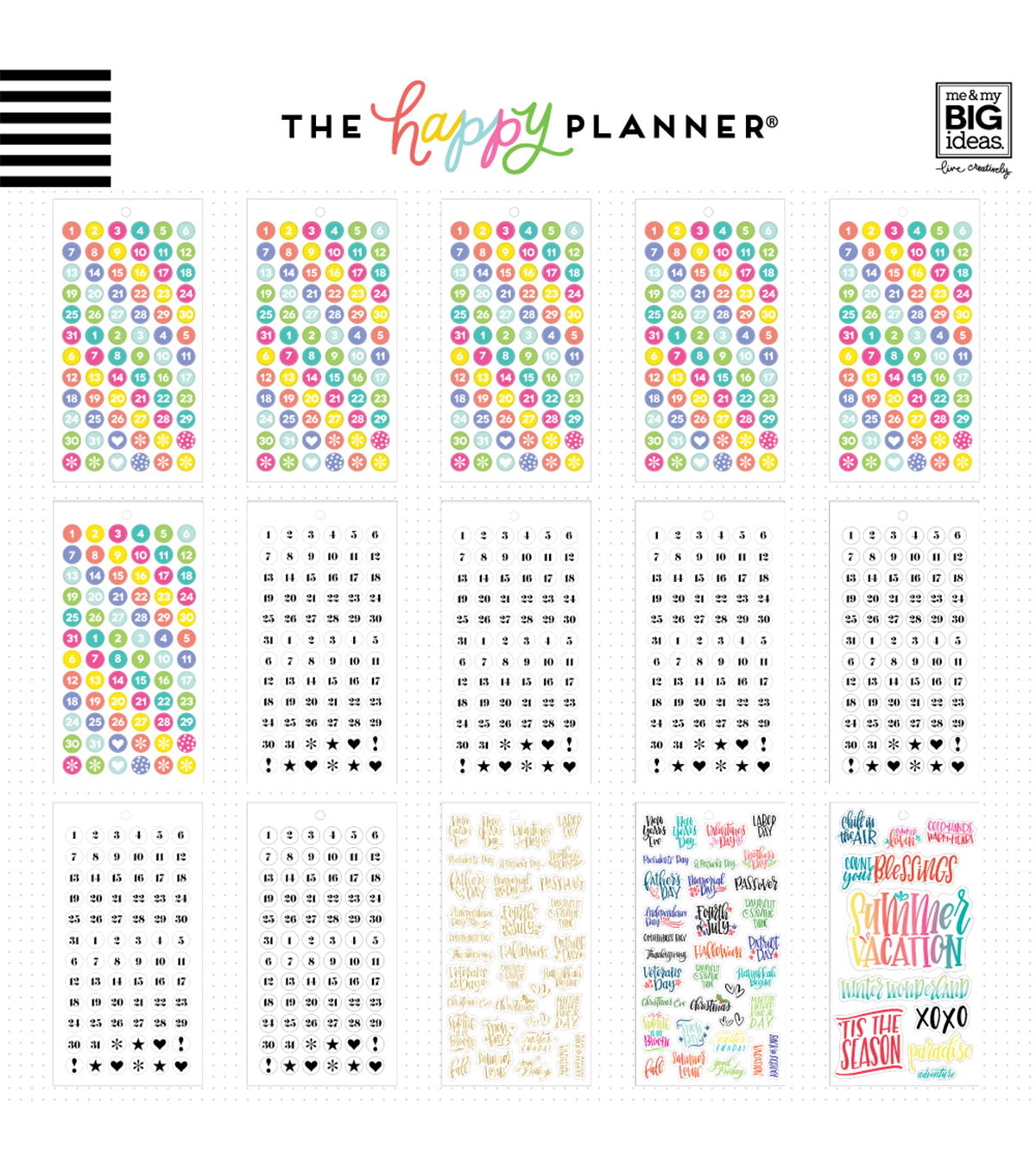 The Happy Planner Sticker Sheets-Dates & Holidays