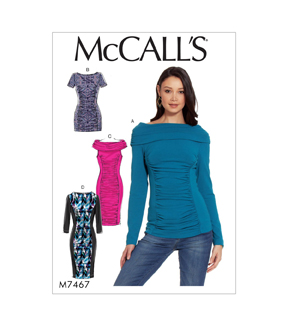 McCall\u0027s Pattern M7467 Misses\u0027 Ruched & Paneled Top, Tunic & Dresses, 14-16-18-20-22