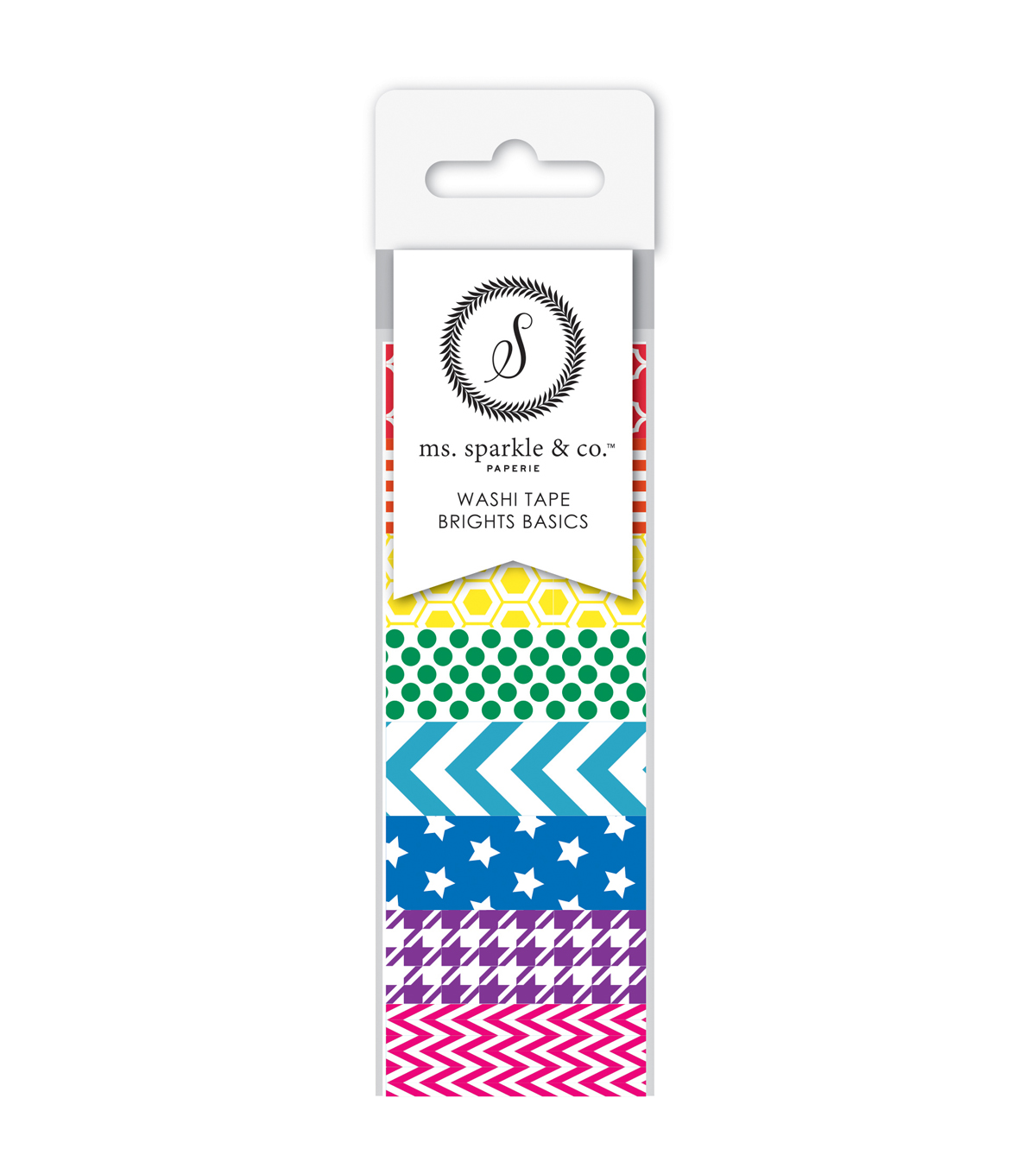 Ms. Sparkle & Co. 8 pk Washi Tapes 0.6 mmx10 yds-Brights Basics