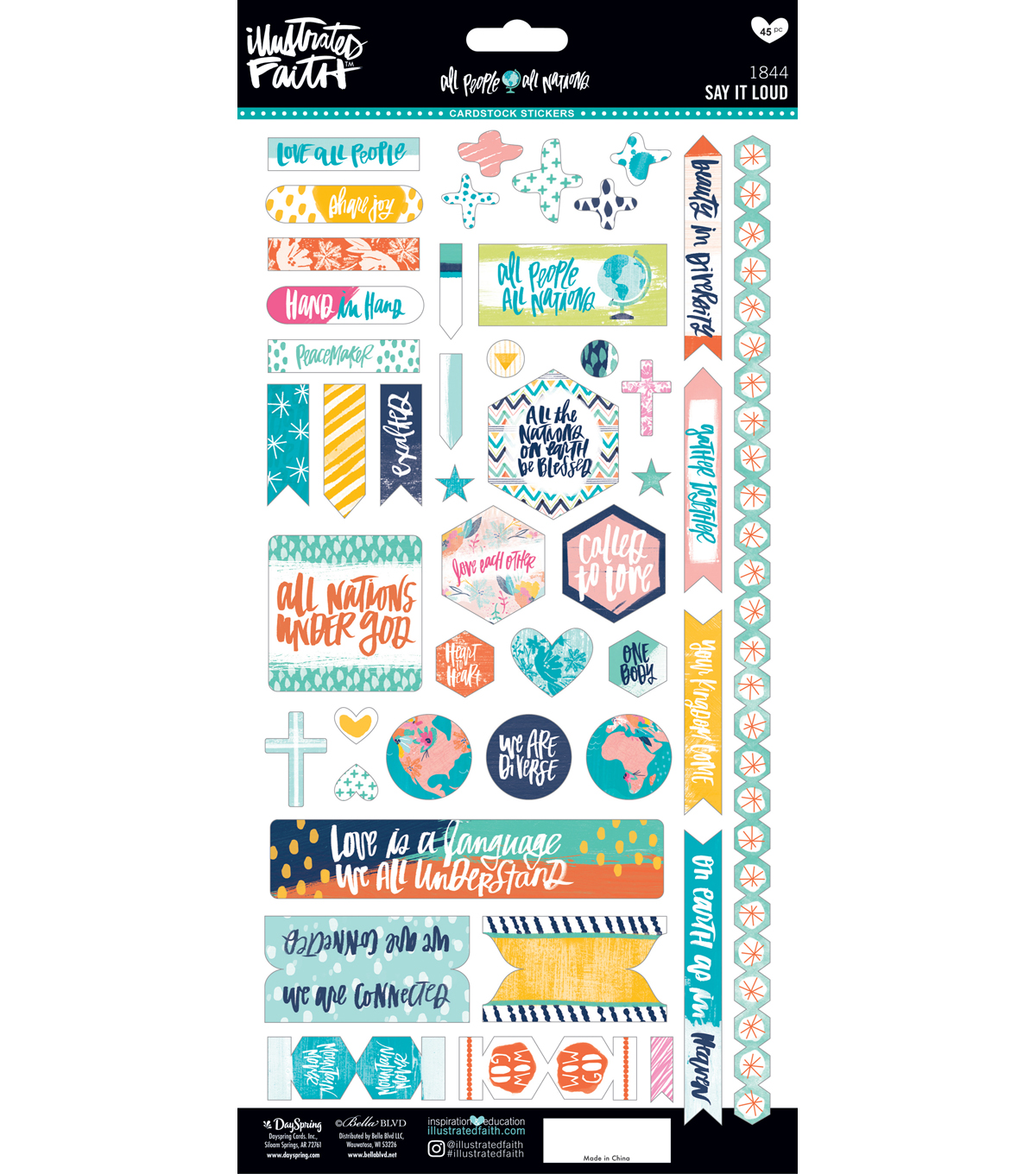 Illustrated Faith All People All Nations Cardstock Stickers-Say it Loud