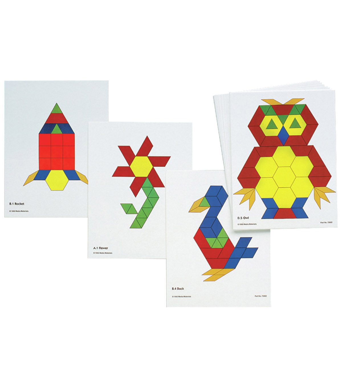 Pattern Block Activity Cards, 20 Per Pack, 3 Packs