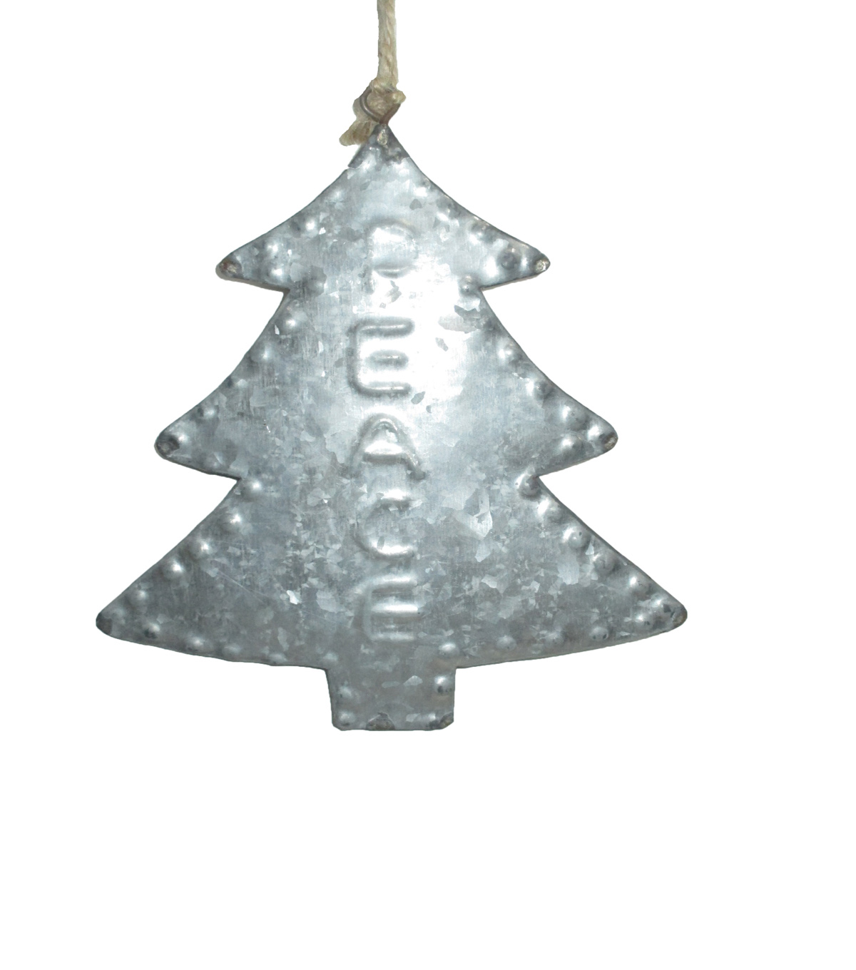 Maker\u0027s Holiday Christmas Woodland Lodge Galvanized Tree Ornament-Peace