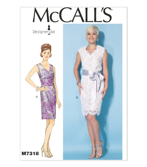 McCall Pattern M7318-A50 Misses\u0027 V-Neck Dresses and Belt-6-8-10-12-14