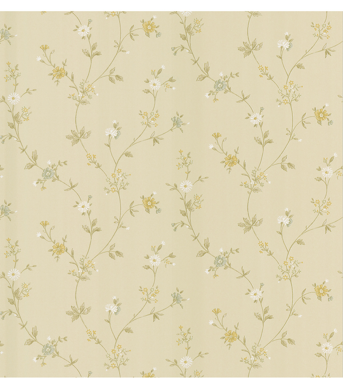 Daisy Beige Floral Trail Wallpaper Sample