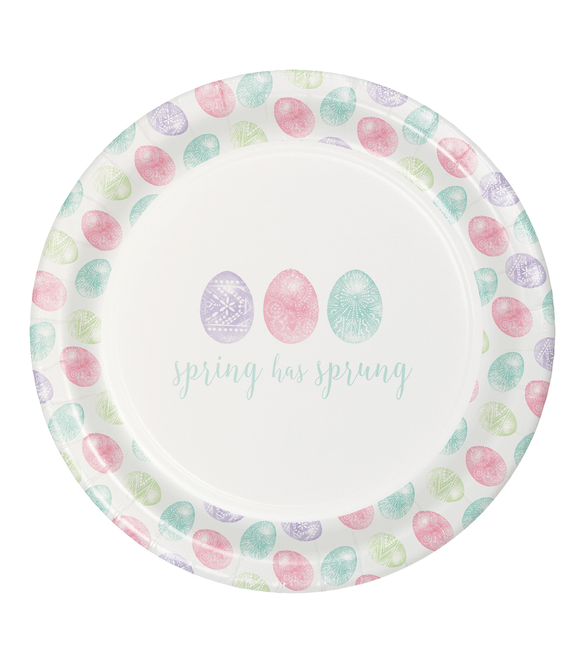Easter Decor 8 pk Paper Dinner Plates-Painted Eggs & Spring has Sprung