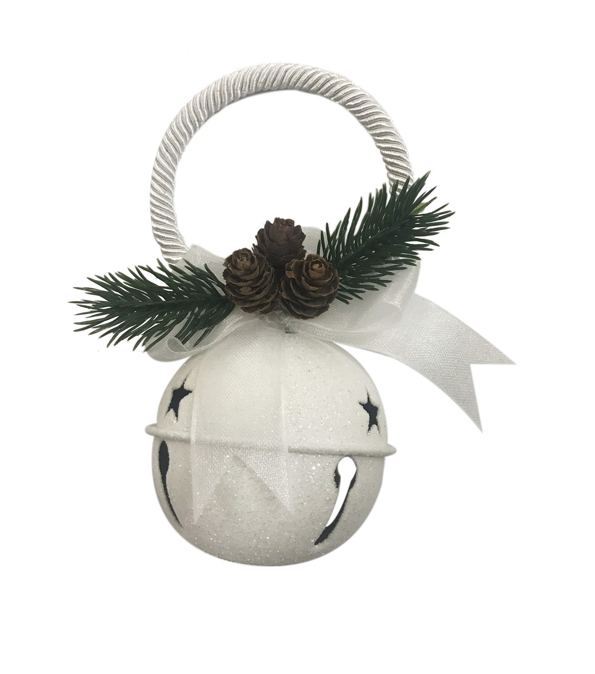 Handmade Holiday Christmas Glitter Jingle Bell Door Knob Hanger-White
