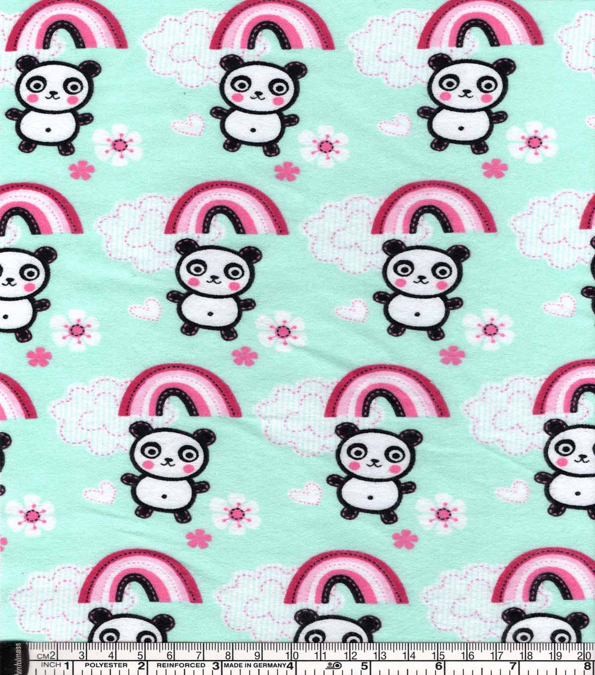 Snuggle Flannel Fabric -Pandas And Rainbows