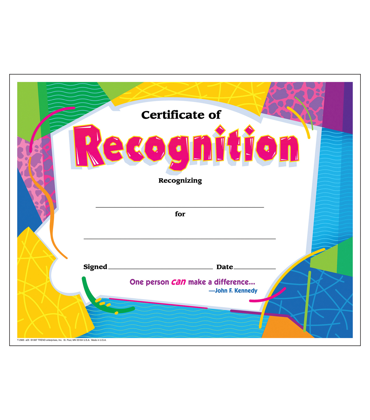 Certificate of Recognition Colorful Classics Certificates, 30 Per Pack