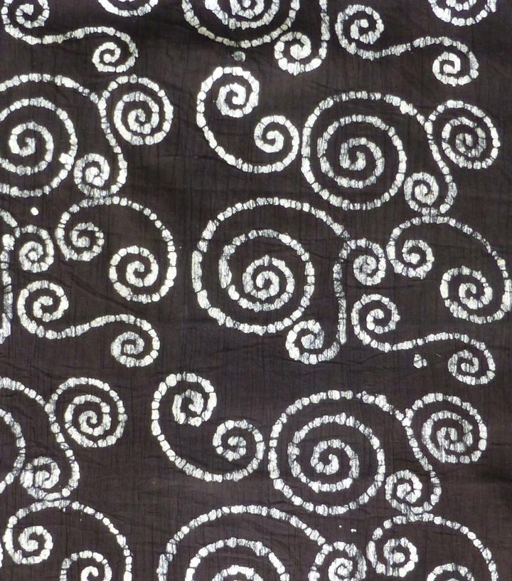 Textured Cotton Batik Arel Fabric White Swirls On Black