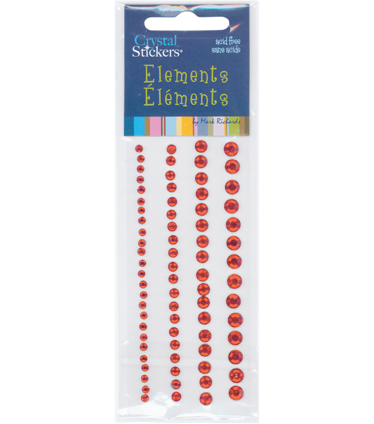 Crystal Stickers Elements 4 Strips-Assorted Round