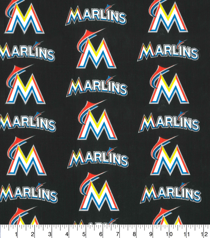 Miami Marlins Cotton Fabric 58u0022 Logo Block