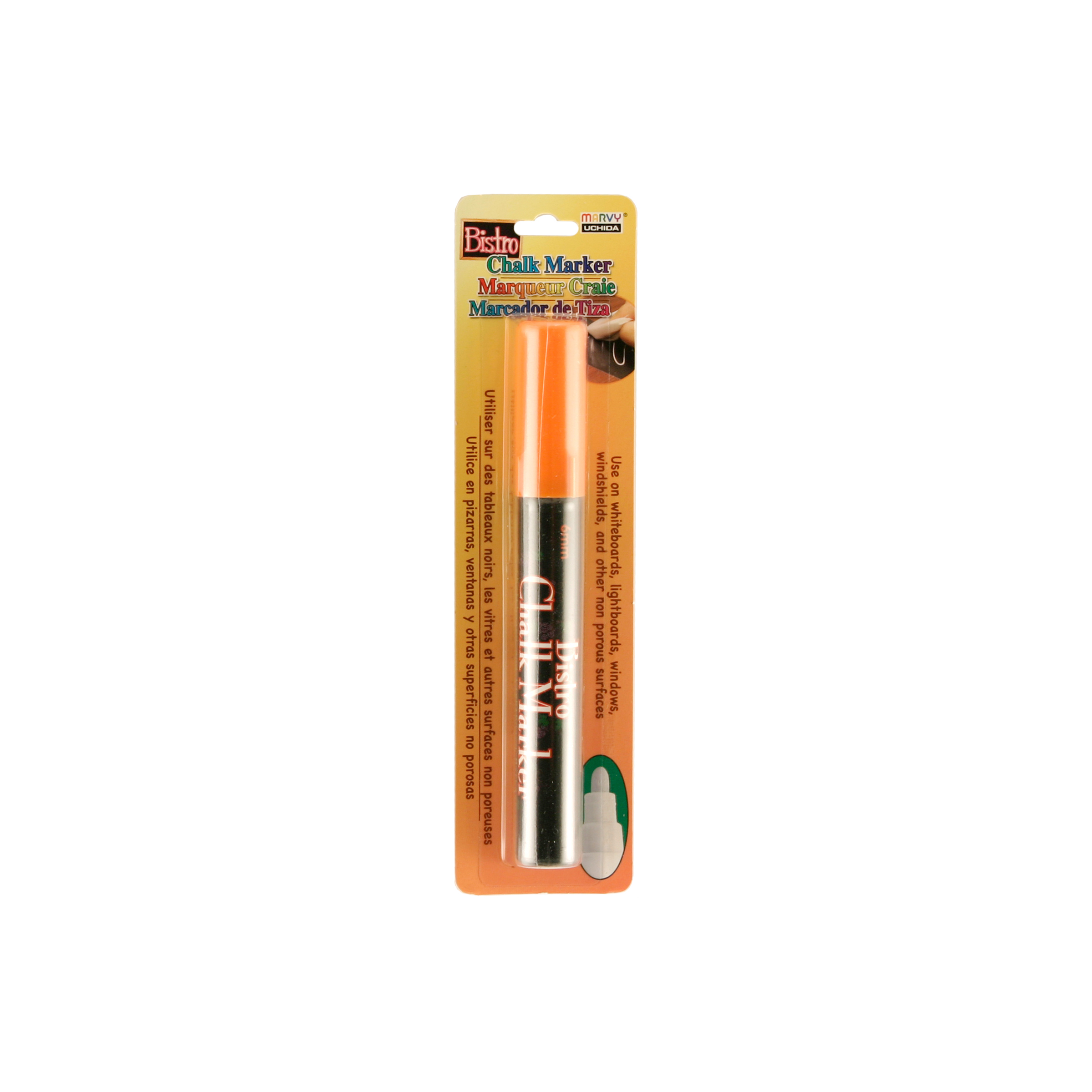 Bistro Chalk Marker 6mm Bullet Tip 1/Pkg-White, Fluorescent Orange