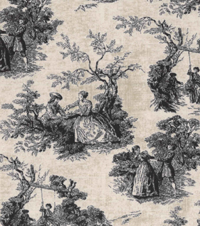 Vintage Cotton Fabric 43\u0027\u0027-Black Park Walk Toile