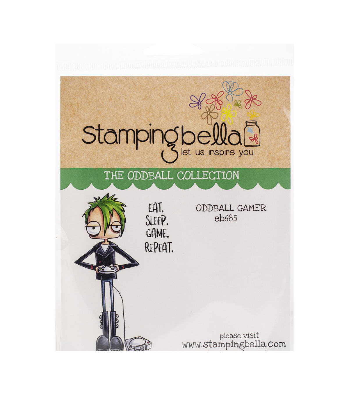 Stamping Bella 2 pk Rubber Cling Stamps-Oddball Gamer