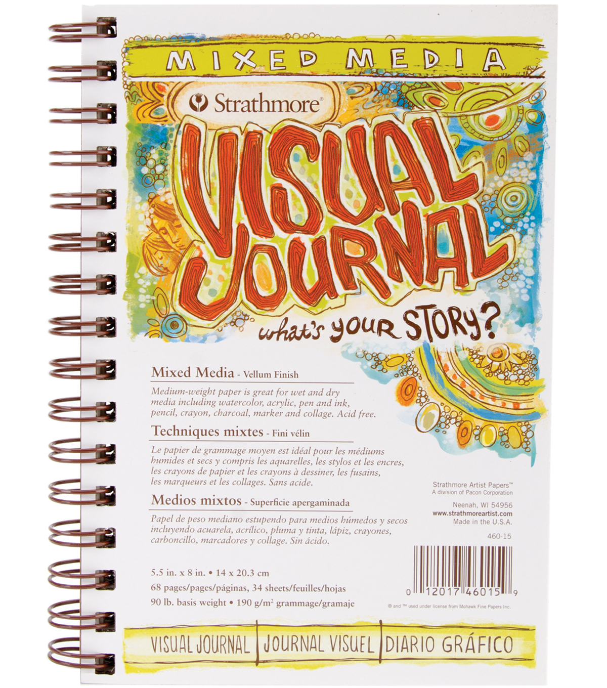 Strathmore Visual Journal Mixed Media Vellum 5.5\u0022X8\u0022-34 Sheets