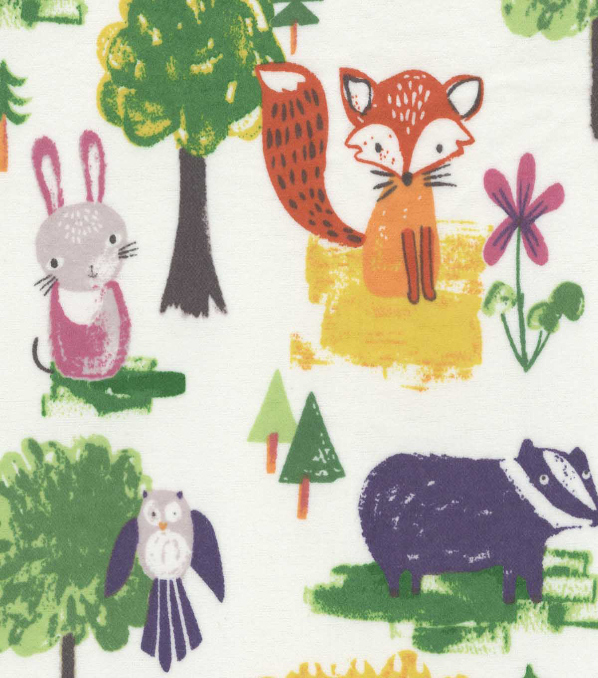 Snuggle Flannel Fabric 42\u0027\u0027-Watercolor Woodland Animals on White