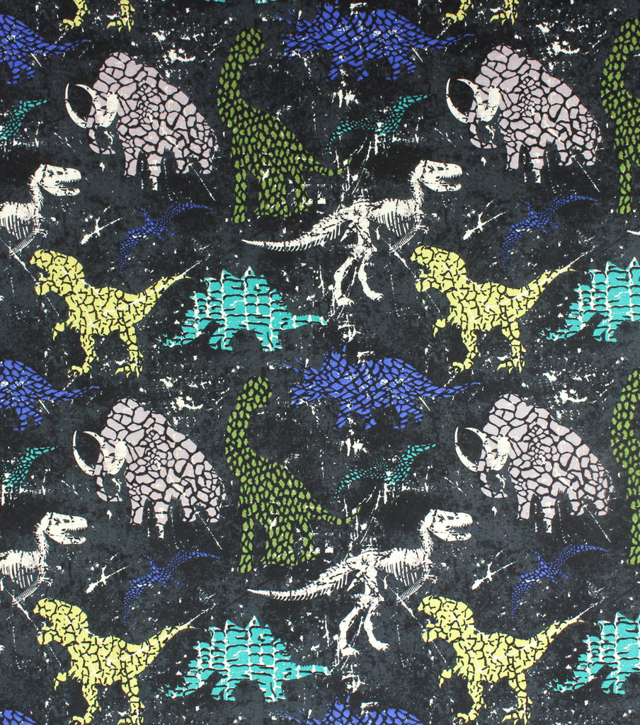 Super Snuggle Flannel Fabric-Distressed Dino on Black