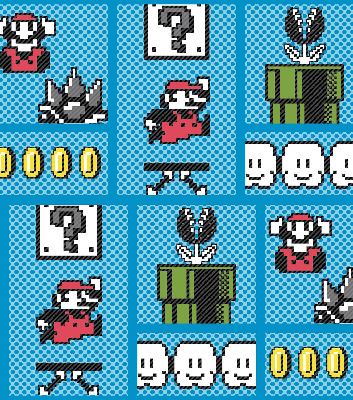 Nintendo Super Mario Cotton Fabric -Retro Game Board  a42915593