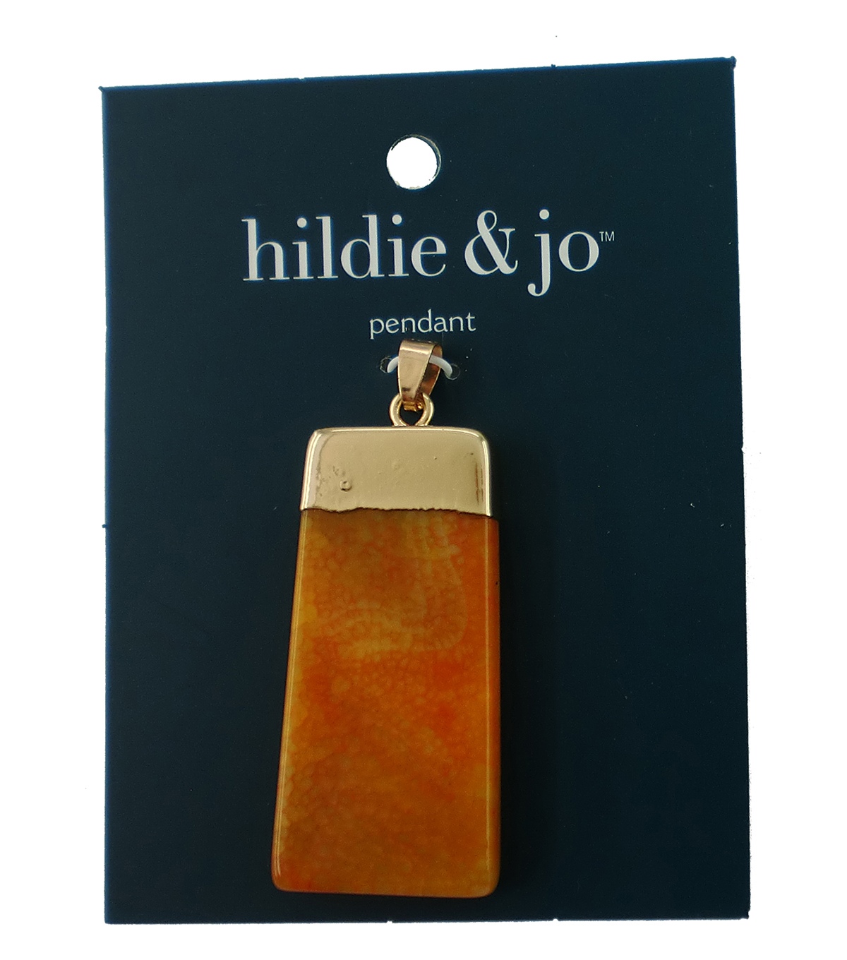 hildie & jo Rectangular Gold Pendant-Orange Stone