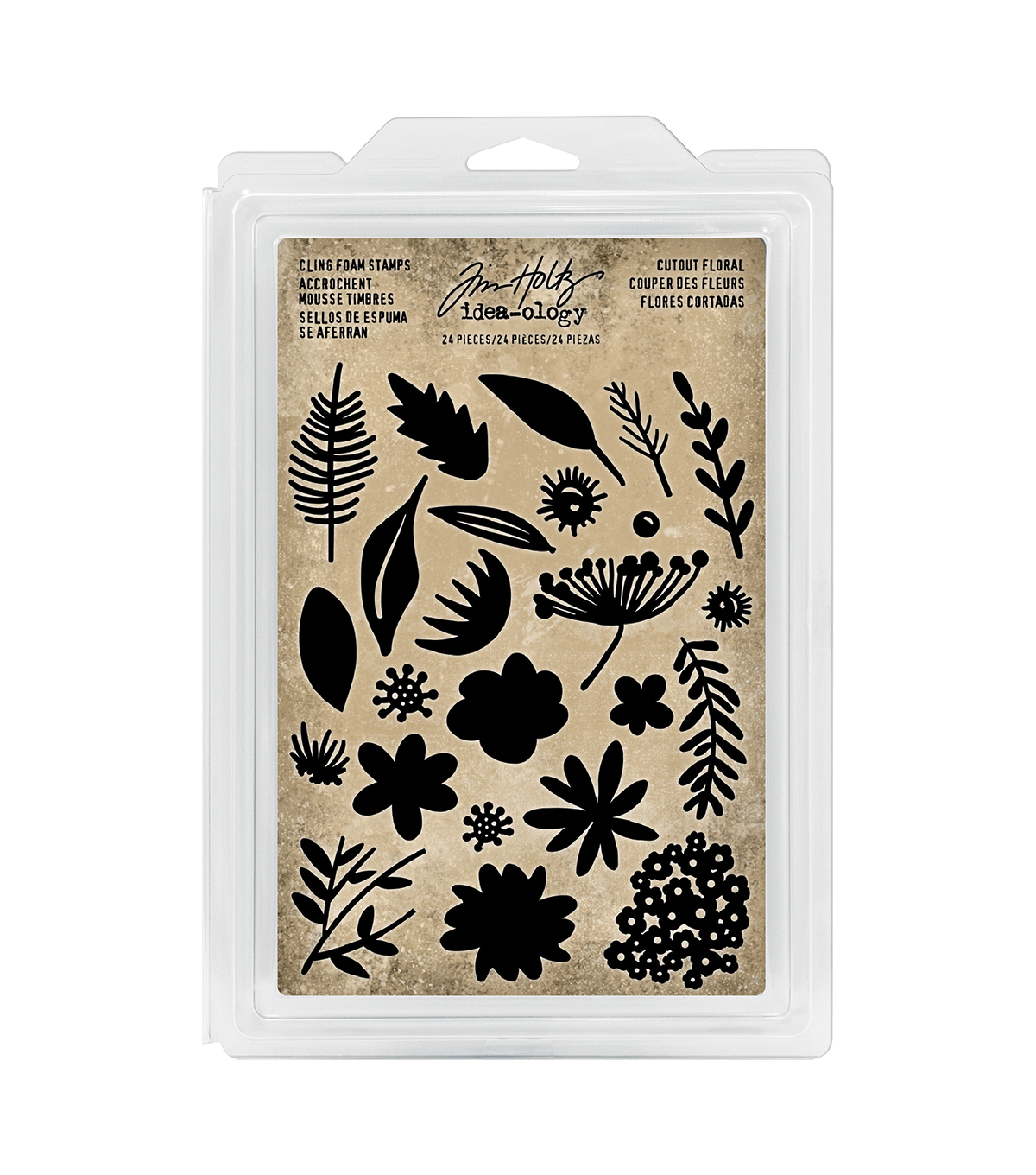 Tim Holtz Idea-ology 24 pk Cling Foam Stamps-Cutout Floral